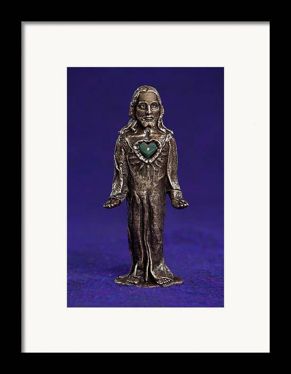Jesus Framed Print featuring the sculpture Jesus Statue With Sacred Heart by Jasmina Agrillo Scherr