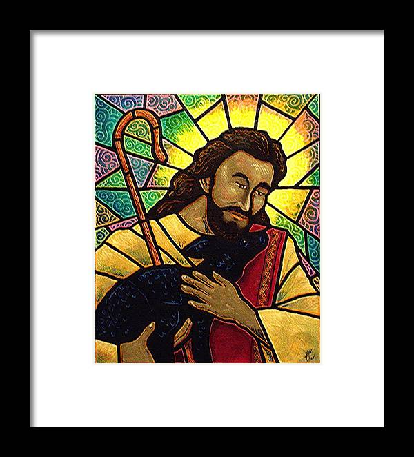 Jesus Framed Print featuring the painting Jesus The Good Shepherd by Jim Harris