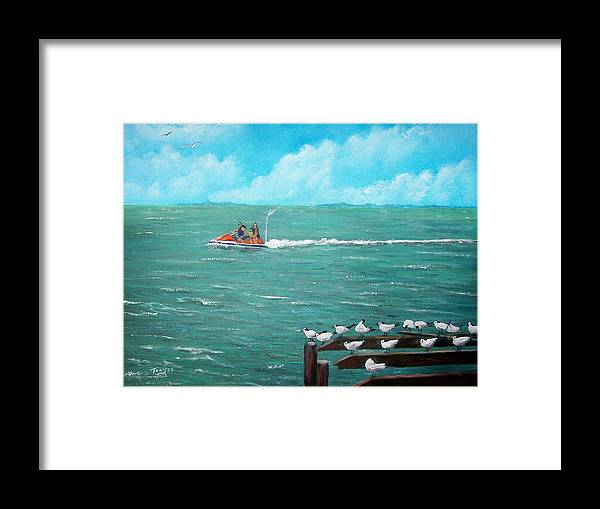 Seascape Framed Print featuring the painting Jet Ski Seascape by Tony Rodriguez
