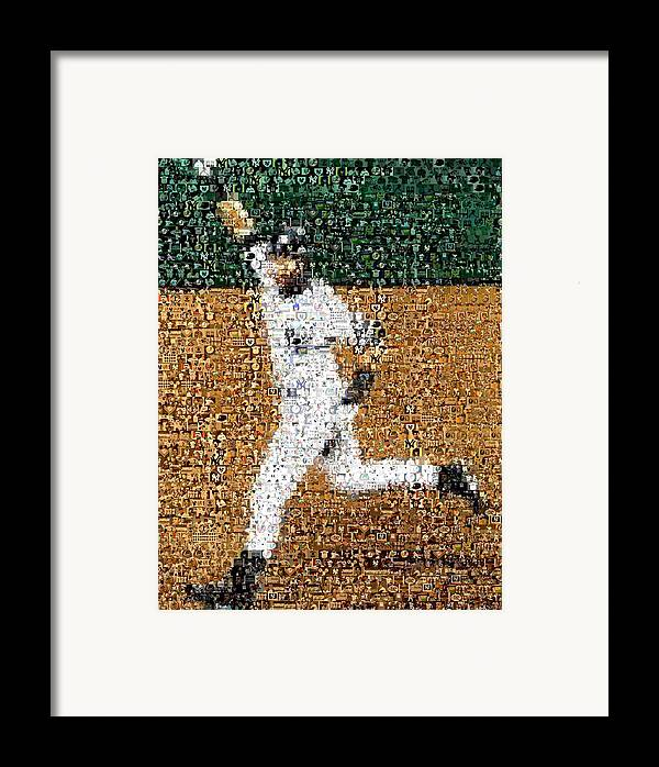 Derek Jeter Framed Print featuring the mixed media Jeter Walk-off Mosaic by Paul Van Scott