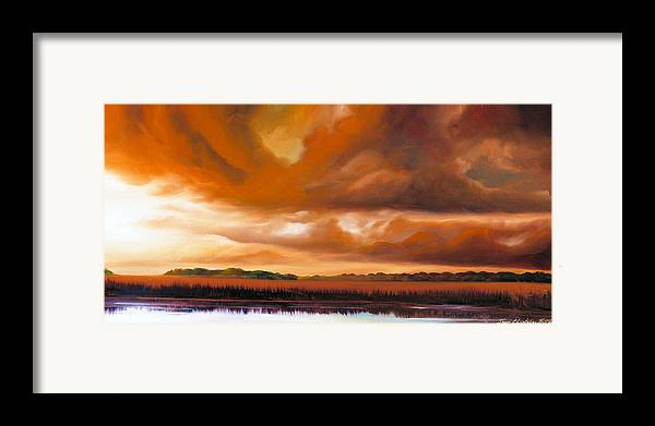 Clouds Framed Print featuring the painting Jetties On The Shore by James Christopher Hill