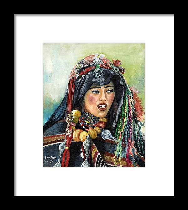 Morocco Framed Print featuring the painting Jeune Femme Berbere De Atlas Marocain by Josette SPIAGGIA