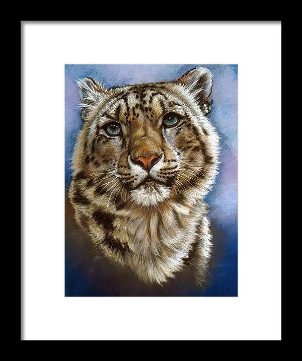 Snow Leopard Framed Print featuring the pastel Jewel by Barbara Keith