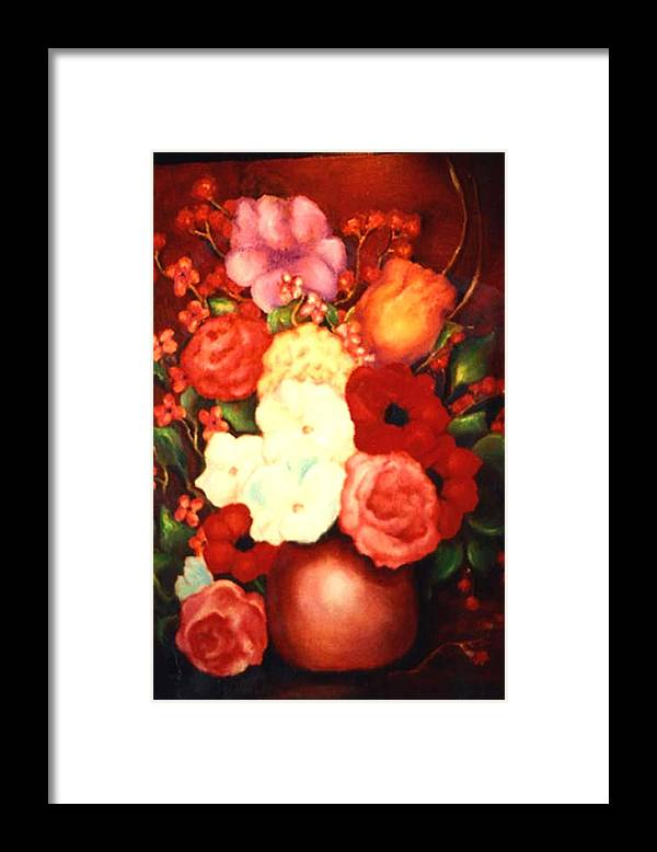 Flowers Framed Print featuring the painting Jewel Flowers by Jordana Sands
