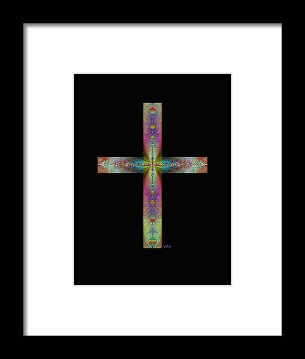 Christian Catholic Cross Impressionistic Gordon Beck Art Framed Print featuring the digital art Jeweled Cross On Black by Gordon Beck