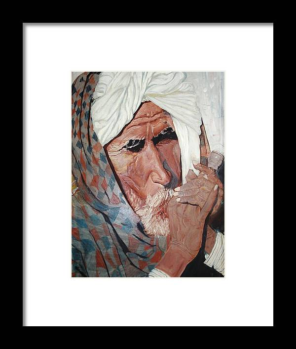 Chillum Framed Print featuring the painting Jhagru Ram's Chillum by Narayan Iyer
