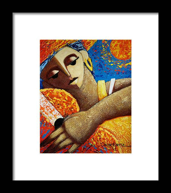 Puerto Rico Framed Print featuring the painting Jibara y Sol by Oscar Ortiz