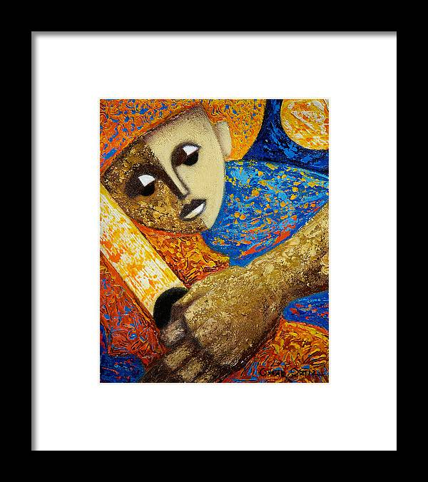 Color Framed Print featuring the painting Jibaro y Luna by Oscar Ortiz