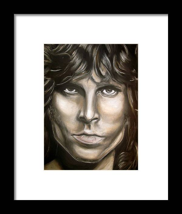 Jim Framed Print featuring the drawing Jim Morrison by Zach Zwagil