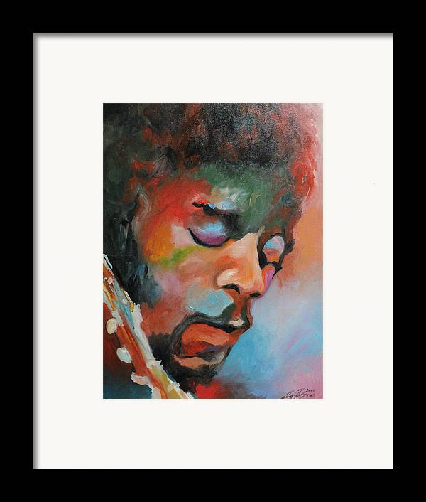 Portrait Framed Print featuring the painting Jimi Hendrix At Monterrey by Angelo Thomas