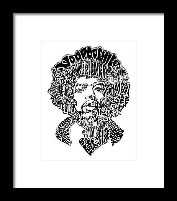 Jimi Hendrix Black And White Word Portrait Framed Print by Inkpaint ...