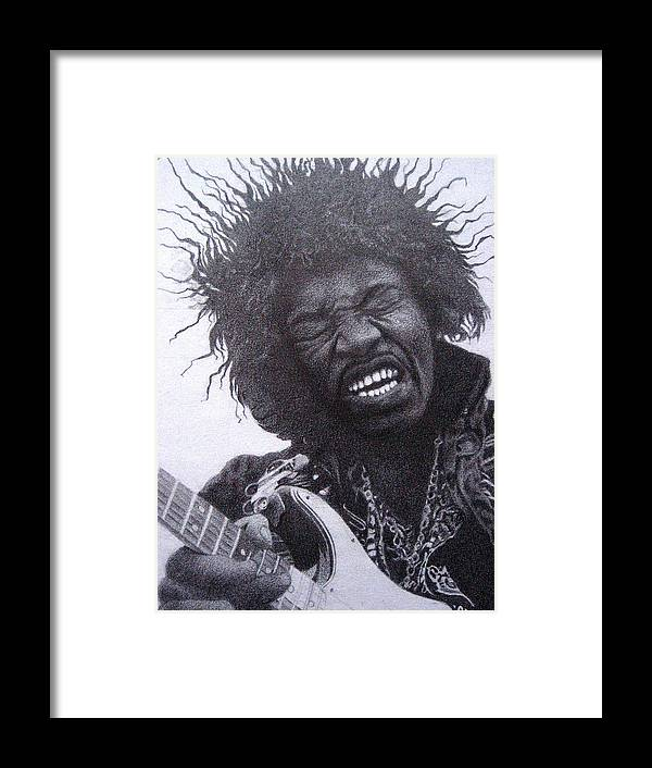 Jimi Hendrix Framed Print featuring the drawing Jimi Hendrix Drawing by Lana Cheng