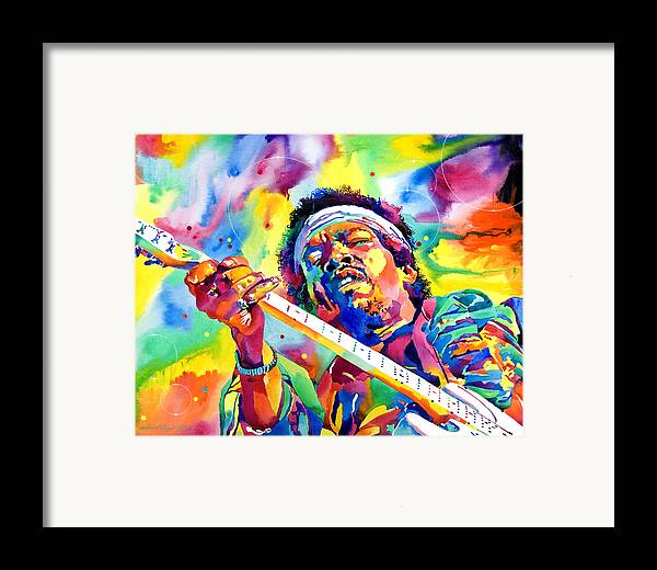 Jimi Hendrix Framed Print featuring the painting Jimi Hendrix Electric by David Lloyd Glover