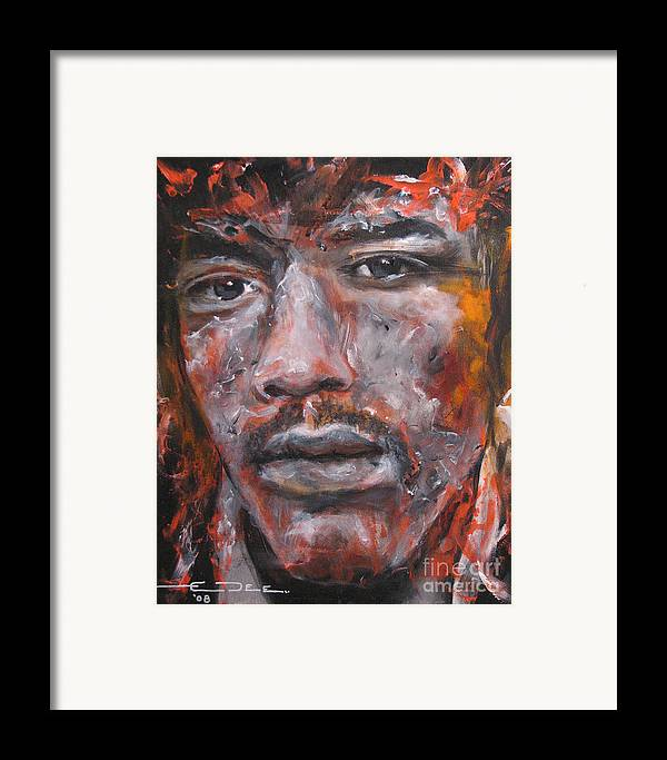 Jim Morrison Framed Print featuring the painting Jimi Hendrix Manic Depression by Eric Dee