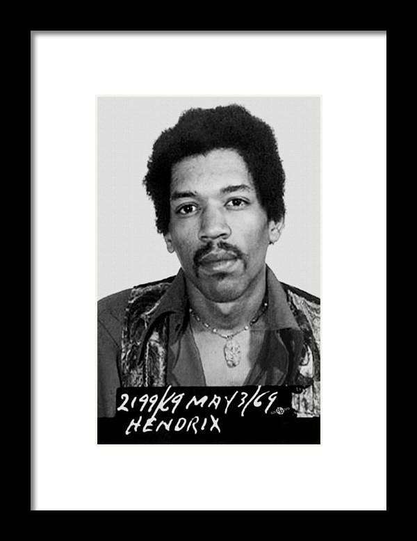 Jimi Hendrix Framed Print featuring the painting Jimi Hendrix Mug Shot Vertical by Tony Rubino
