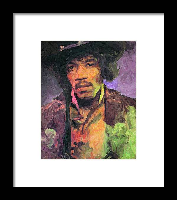 Jimi Hendrix Framed Print featuring the painting Jimi Hendrix by Zapista OU