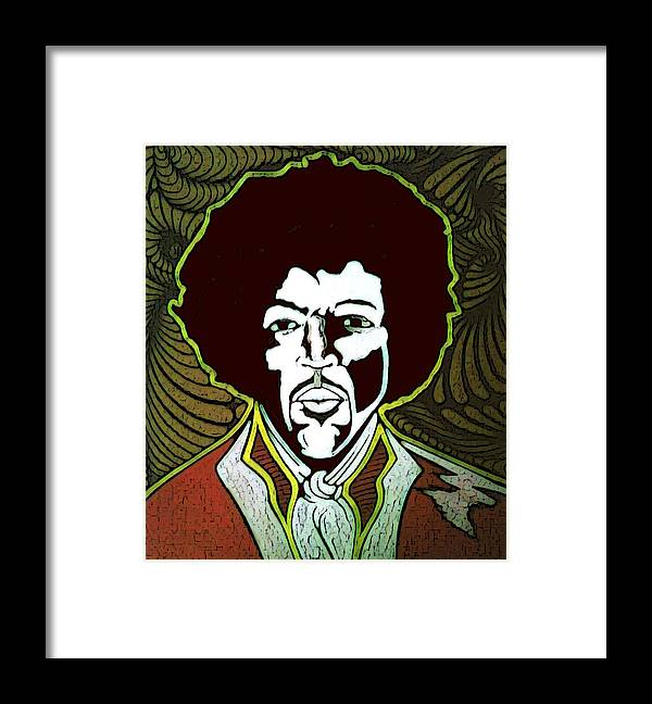 Paintings Framed Print featuring the painting Jimi by Jeff DOttavio