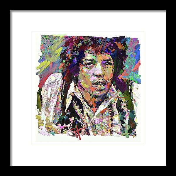 Jimi Hendrix Music Portrait Musician Rock Framed Print featuring the digital art Jimi by Scott Waters