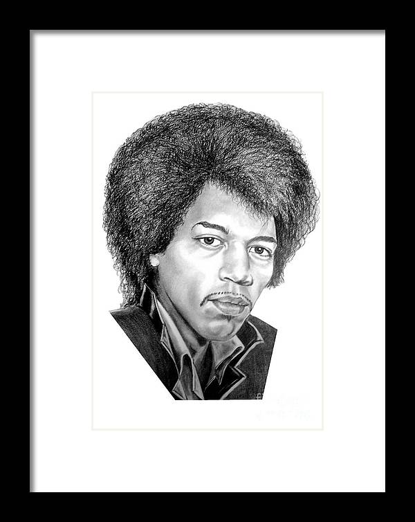 Jimmi Hendrix Framed Print featuring the drawing Jimmi Hendrix By Murphy Art. Elliott by Murphy Elliott