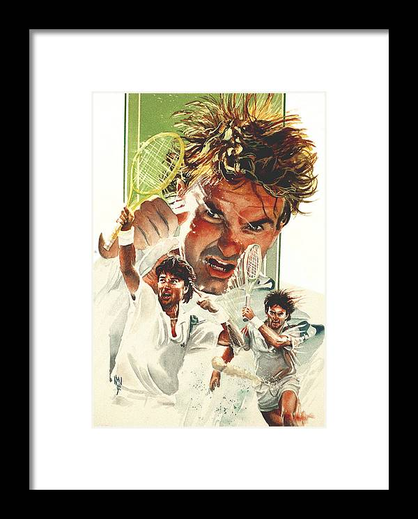 Sports Framed Print featuring the painting Jimmy Connors by Ken Meyer jr