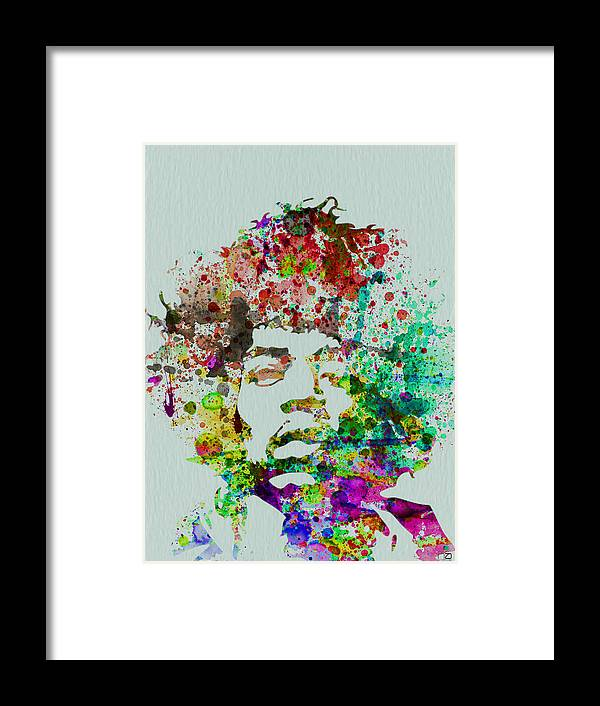 Jimmy Hendrix Framed Print featuring the painting Jimmy Hendrix watercolor by Naxart Studio