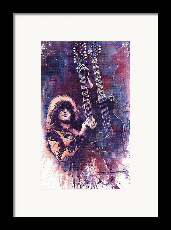 Watercolour Framed Print featuring the painting Jimmy Page by Yuriy Shevchuk