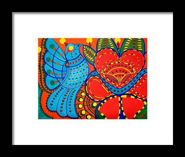 Contemporary Folk Framed Print featuring the painting Jinga Bird - Jinga bird by Fareeha Khawaja