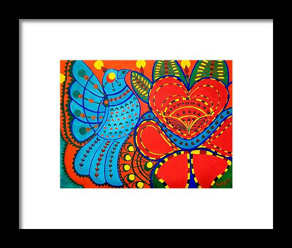 Contemporary Folk Framed Print featuring the painting Jinga Bird - Jinga Bird Series by Fareeha Khawaja