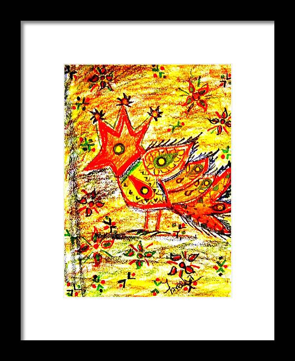 Contemporary Folk Framed Print featuring the mixed media Jinga Bird II - Jinga Bird Series by Fareeha Khawaja