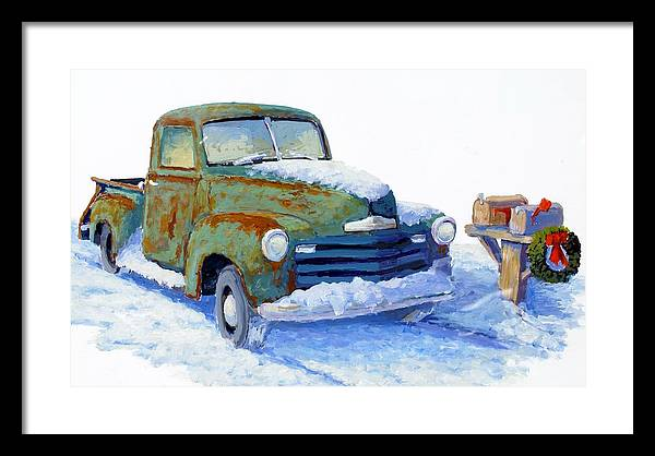 Old Truck Framed Print featuring the painting Jingle Bells by Bob Adams