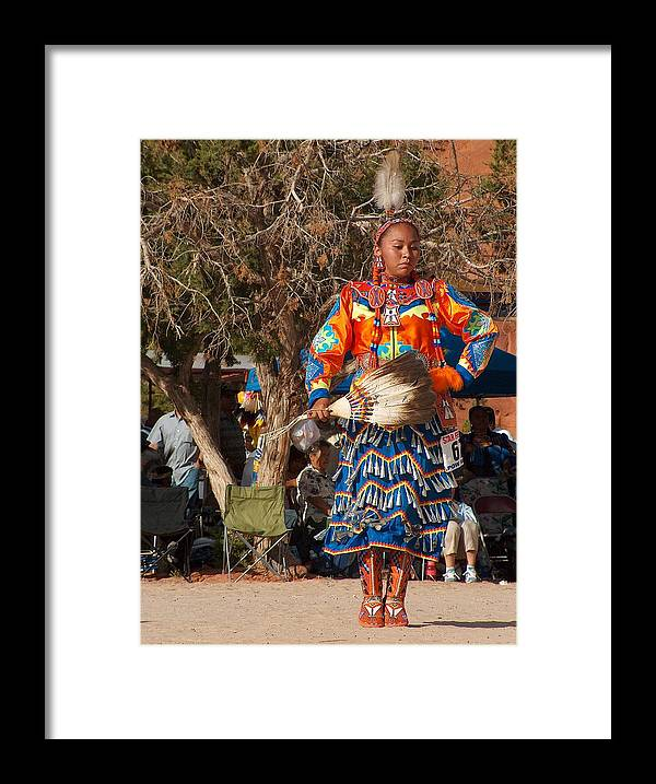 Pow-wow Dancer Framed Print featuring the photograph Jingle Dress Dancer at Star Feather Pow-Wow by Tim McCarthy