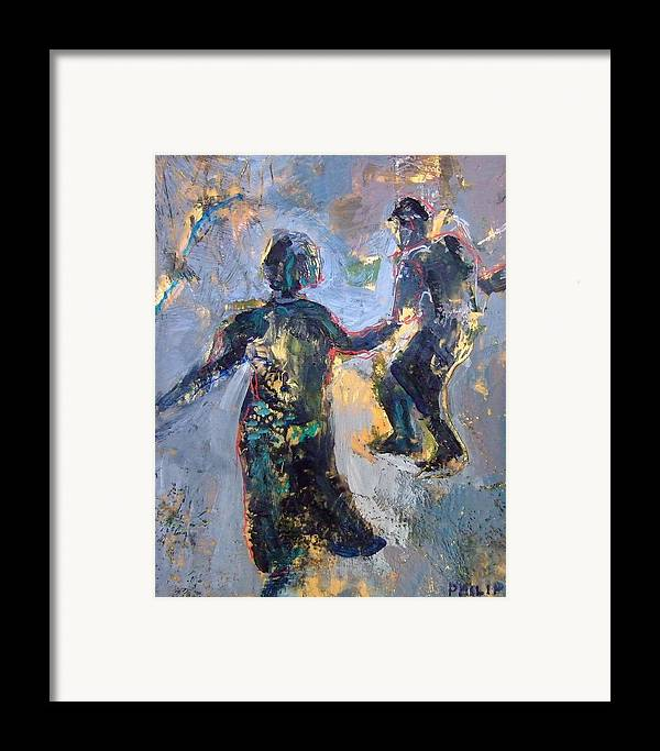 Encaustic Painting By Michelle Philip Framed Print featuring the painting Jitterbug by Michelle Philip