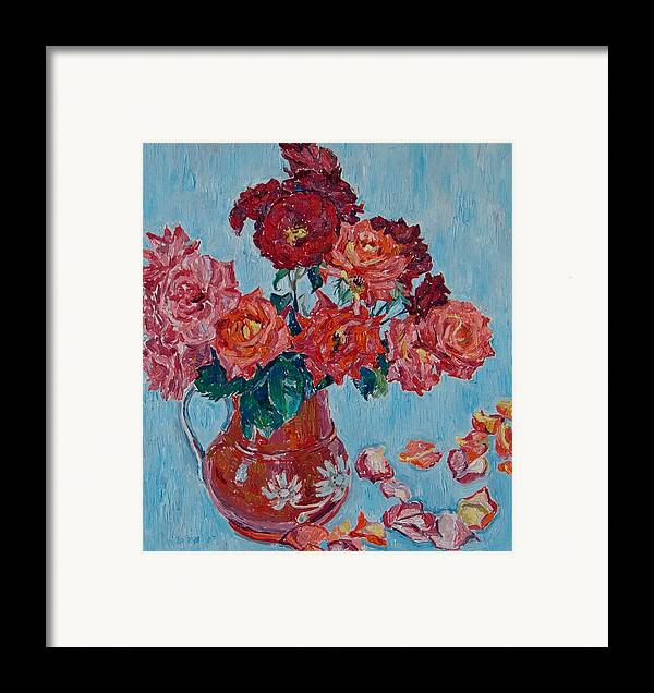 Roses Framed Print featuring the painting Jjug With Red Roses by Vitali Komarov