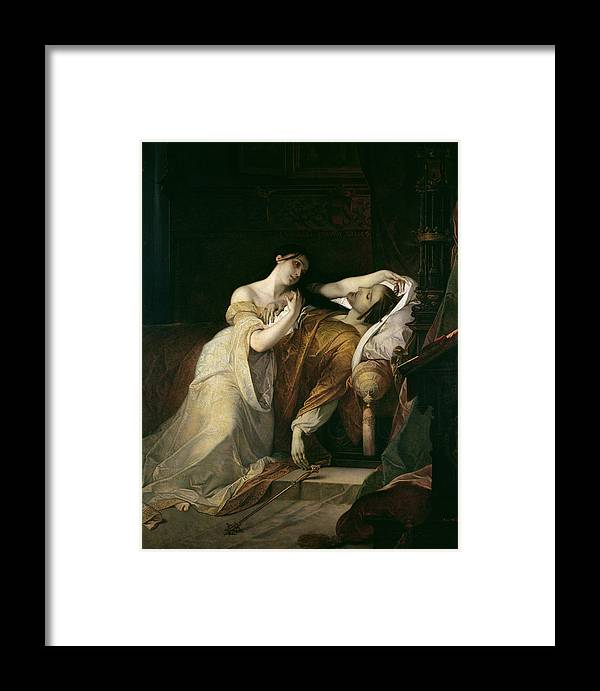Joanna The Mad With Philip I The Handsome Framed Print featuring the painting Joanna The Mad With Philip I The Handsome by Louis Gallait