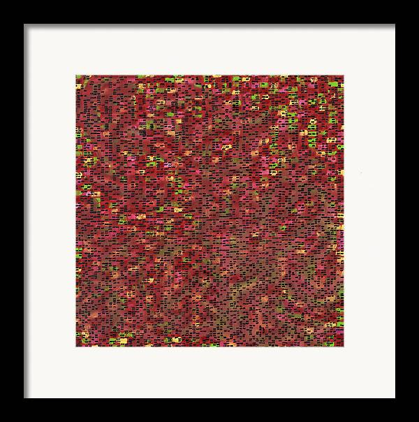 Abstract Pattern Red Colors Framed Print featuring the painting Jobourg by Joan De Bot