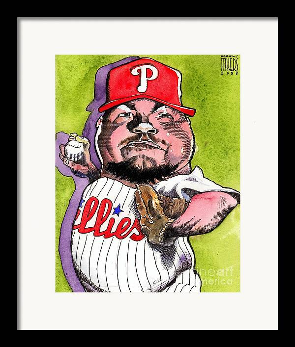 Sports Art Framed Print featuring the painting Joe Blanton -phillies by Robert Myers