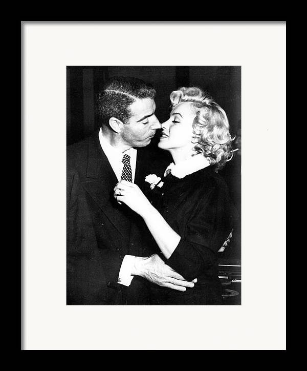 1950s Portraits Framed Print featuring the photograph Joe Dimaggio, Marilyn Monroe by Everett