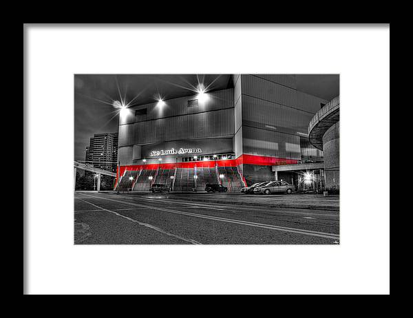 Framed Print featuring the photograph Joe Louis Arena Detroit MI by Nicholas Grunas