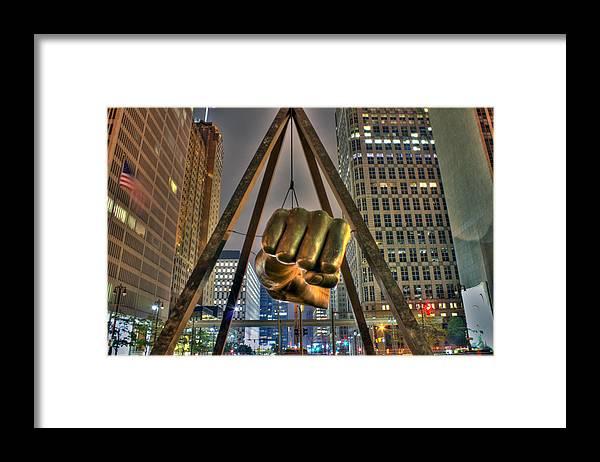 Dj Just Nick Framed Print featuring the digital art Joe Louis Fist Detroit MI by Nicholas Grunas