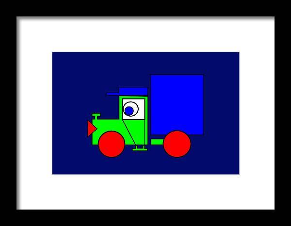 Joe The Truck Framed Print featuring the digital art Joe The Truck by Asbjorn Lonvig