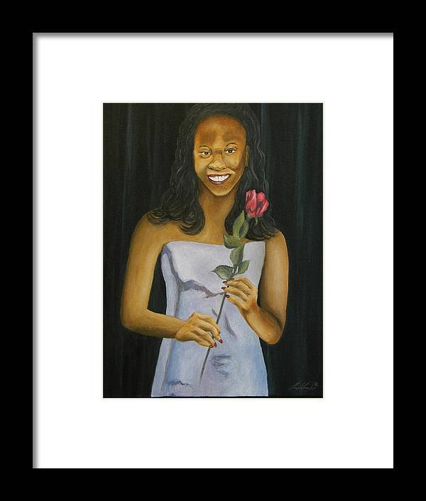 Portrait Framed Print featuring the painting Joell by Angelo Thomas