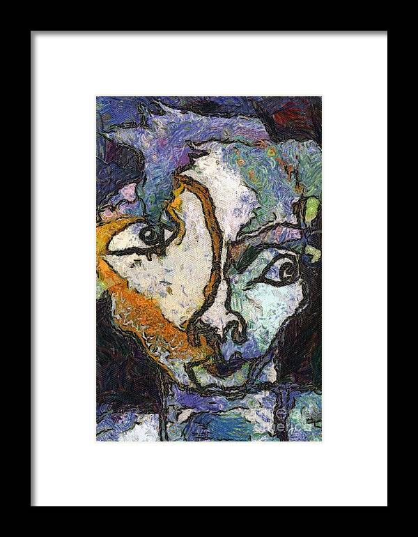 Blind Contour Drawing Art Male Face Model Framed Print featuring the painting Joey 2 by Dawn Bearden