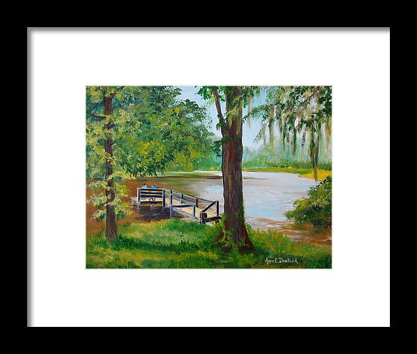 Lake Framed Print featuring the painting Joey's Back Yard by AnnE Dentler