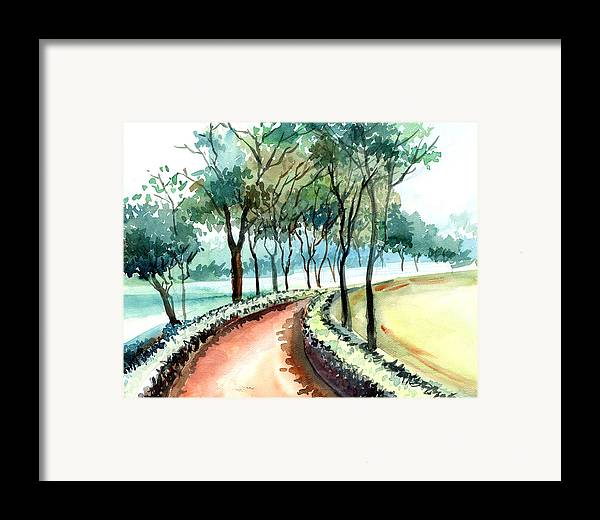 Landscape Framed Print featuring the painting Jogging Track by Anil Nene