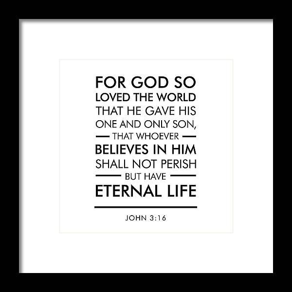 John 3-16 - Spiritual Wall Art - Bible Verses Art Framed Print by ...