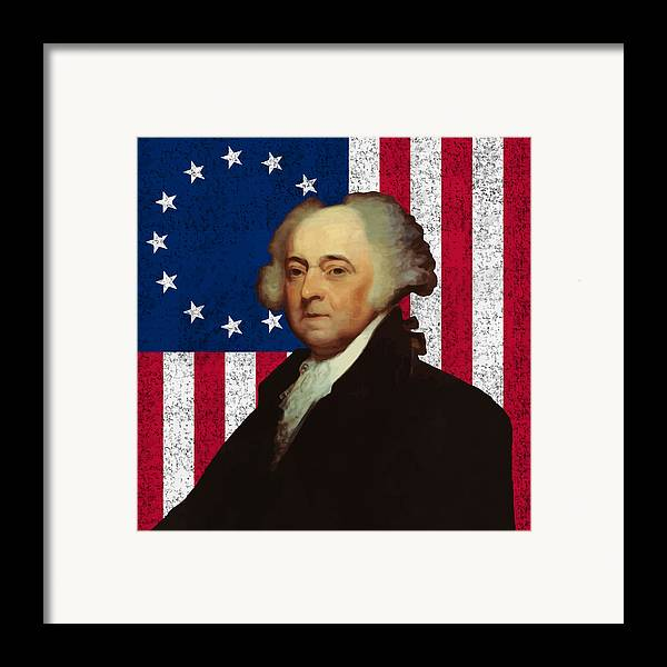 John Adams Framed Print featuring the painting John Adams And The American Flag by War Is Hell Store