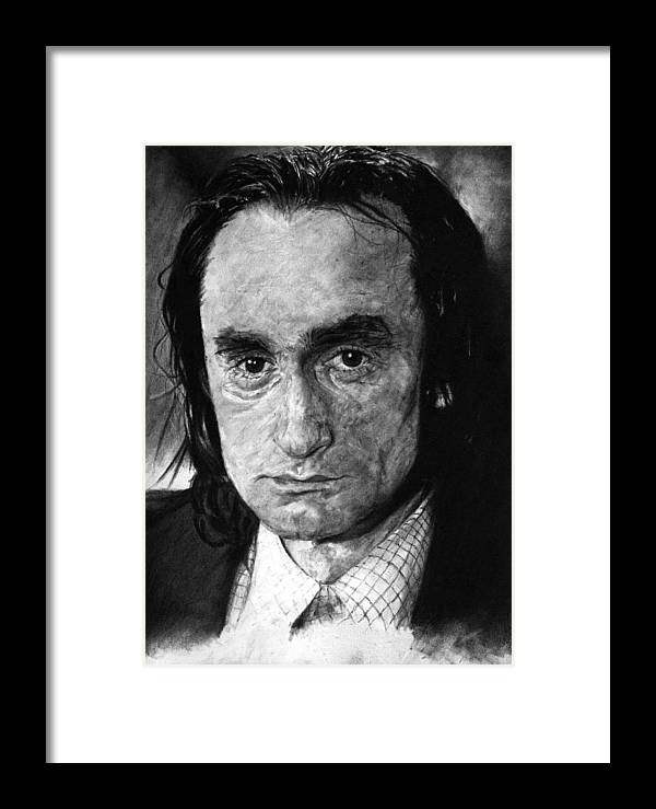 Portrait Man Men Charcoal Art Life Godfather Deer Hunter Dog Day Afternoon Gray Grey Tone John Actor Framed Print featuring the drawing John Cazale by Priscilla Vogelbacher