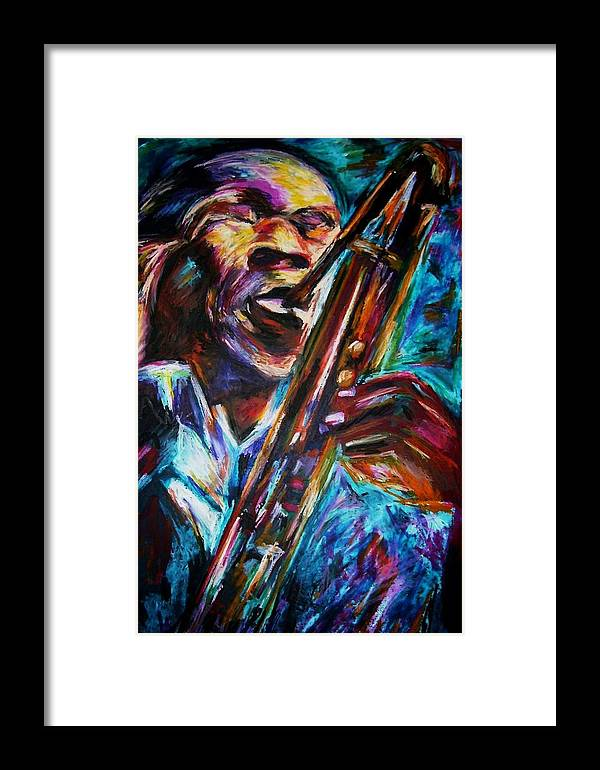 Jazz Framed Print featuring the painting John Coltrane by Frances Marino