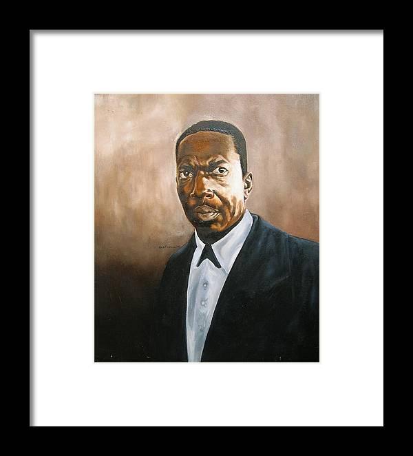 John Coltrane Jazz Portrait Framed Print featuring the painting John Coltrane by Martel Chapman