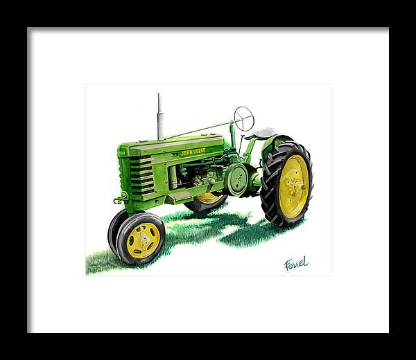 John Deere Tractor Framed Print featuring the painting John Deere Tractor by Ferrel Cordle